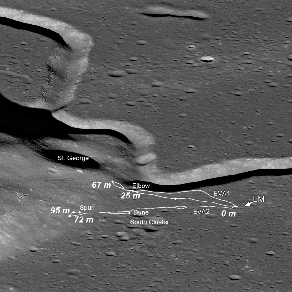 Side-looking view of the Apollo 15 traverses
