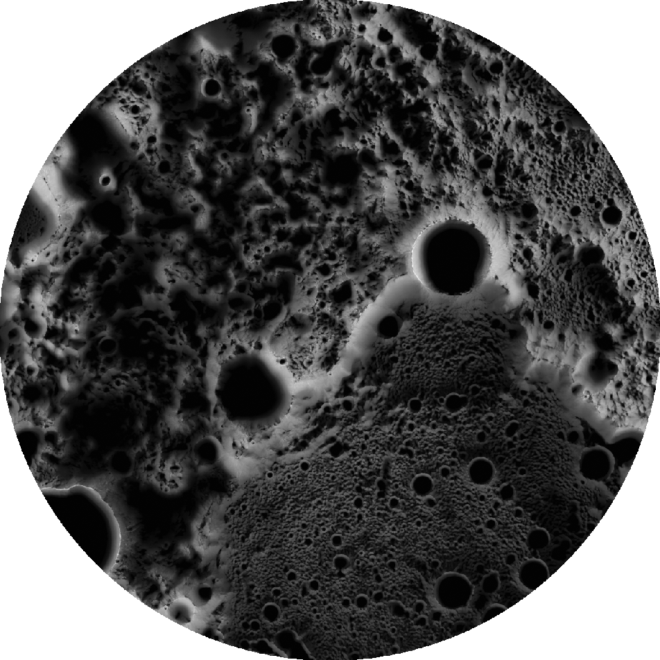 Grayscale image of the north pole of the Moon where light colored areas gets lots of sunlight and dark areas get no sunlight. A bright mountain range runs roughly diagonal across the image from the lower left to the middle of the right.
